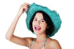 summer brunette woman Stock Image