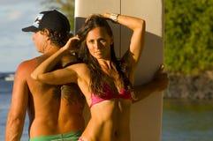 Sexy surfermeisje Stock Foto