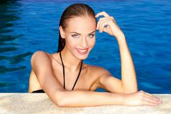 Sexy in swimming pool Stock Photo