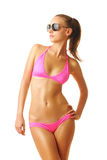 Sexy tan vrouw in bikini Royalty-vrije Stock Foto's