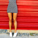 tanned young woman legs. Close up Stock Photo