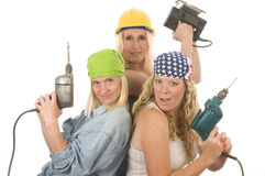 Sexy team construction ladies tools Royalty Free Stock Images