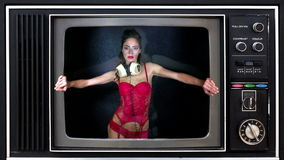 Sexy television party women Royalty Free Stock Photo