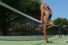 Sexy tennis girl Stock Photos