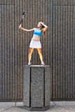 tennis player posing in an urban setting Royalty Free Stock Photography