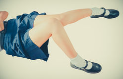 Sexy Thai schoolgirl legs and thighs in soft childish color style Royalty Free Stock Image