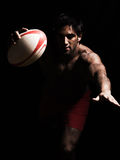 topless rugby man scoring touchdown Royalty Free Stock Photography