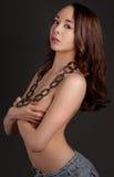 Sexy Topless Vrouw in Borrels Royalty-vrije Stock Foto