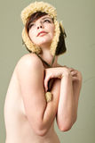 Sexy topless woman wearing hat Stock Photo