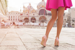 Sexy tourist walking on St Marks Square in Venice Stock Image