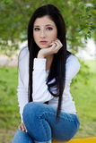Sexy trendy brunette woman Royalty Free Stock Image