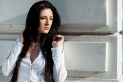 Sexy trendy brunette woman Royalty Free Stock Photography