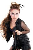 Sexy tuimelschakelaarmeisje met koele make-up stock foto's