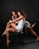 Sexy twins in fetching attires Stock Photography