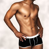 Sexy underwear male model. Man in black underpants Royalty Free Stock Photo