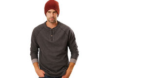 Sexy urban hipster standing in front of white background.  Royalty Free Stock Photography