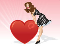 Sexy Valentines pin up with heart Stock Image