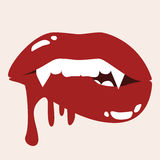 Sexy Vampire Biting Lips With Blood Stock Photo