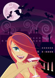 Sexy vampire tasting blood Stock Photo