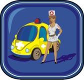 Sexy verpleegster en haar madical auto Stock Afbeeldingen