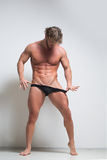 Sexy very muscular male model in underwear Stock Image