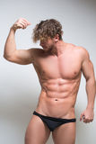 Sexy very muscular male model in underwear Royalty Free Stock Photos