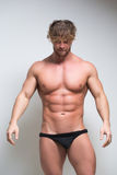 Sexy very muscular male model in underwear Royalty Free Stock Image