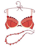 Sexy vintage red bra Stock Photos