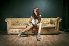 Sexy Violinist Woman Royalty Free Stock Images