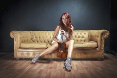 Sexy Violinist Woman Royalty Free Stock Photography