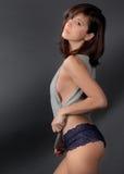 Sexy Vrouw in Bovenkant en Damesslipjes royalty-vrije stock afbeelding