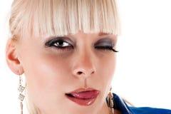 Sexy vrouw die lippen likken Stock Afbeeldingen