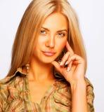 Sexy vrouw die op witte editable background Royalty-vrije Stock Afbeelding
