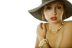 Sexy vrouw in hoed Stock Afbeeldingen
