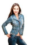 Sexy vrouw in jeansjasje Royalty-vrije Stock Afbeeldingen