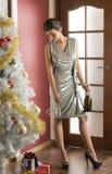 Sexy vrouw in Kerstmisnacht royalty-vrije stock afbeelding