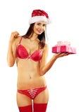 Sexy vrouw met gift op wit Stock Afbeelding
