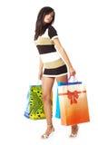 Sexy vrouw met het winkelen zak Stock Fotografie