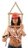 Sexy vrouw met vouwmeter en maatregelenband royalty-vrije stock afbeelding