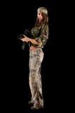 Sexy vrouw in militaire eenvormig Stock Foto