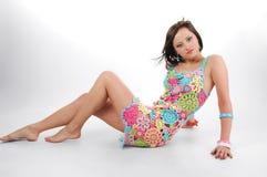 Sexy vrouw op de vloer Stock Foto