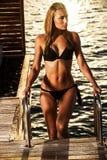 Sexy vrouw op het overzees stock fotografie