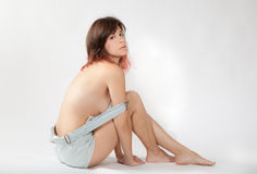 Sexy Vrouw in Overall stock afbeeldingen