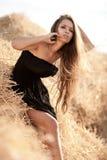 Sexy vrouw in stapel van hooi Stock Foto's
