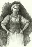 Sexy vrouw in traditionele Oekraïense kleding royalty-vrije illustratie