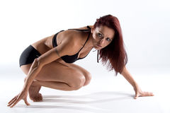 vrouwelijk model in zwempak Stock Foto's