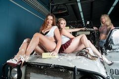 Sexy vrouwen bij de autowas Stock Fotografie