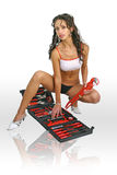 Sexy vrouwenarbeider met moersleutel Stock Fotografie