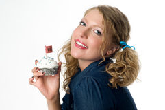 Sexy vrouwenholding cupcake Stock Afbeeldingen