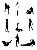 Sexy vrouwensilhouetten Stock Afbeelding